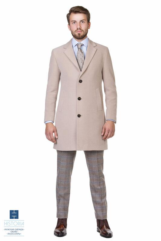 Верхняя одежда мужская HISTORIA Пальто утепленное светло-бежевое - фото 1