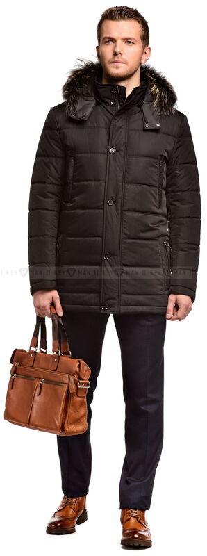 Верхняя одежда мужская Keyman Куртка мужская черная с капюшоном и натуральным мехом - фото 1