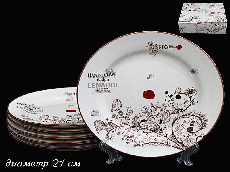 Подарок Lenardi Набор из 6 круглых тарелок «Птичий дворик» 127-088 - фото 1