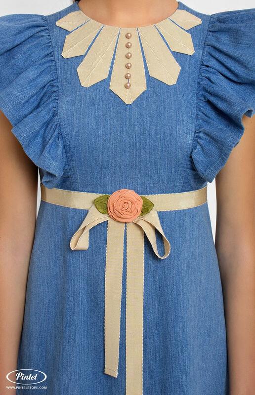 Платье женское Pintel™ Джинсовое платье приталенного силуэта с воланами Miranttu - фото 3
