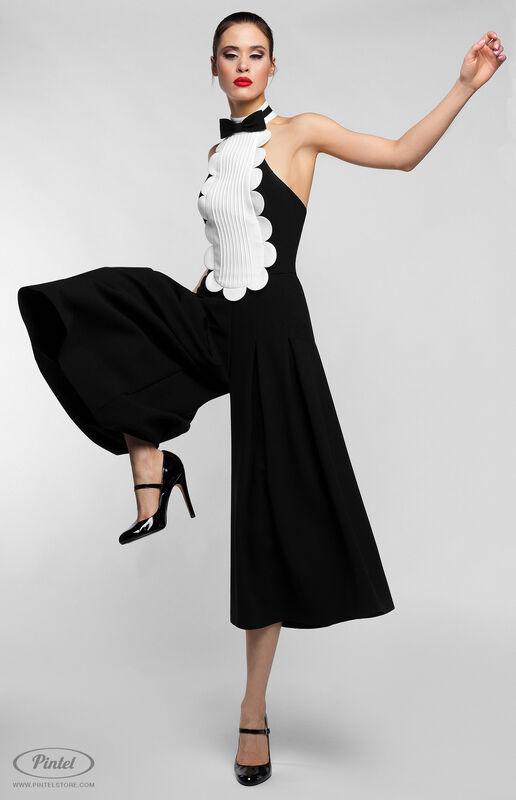 Брюки женские Pintel™ Чёрный приталенный комбинезон без рукавов Belange - фото 2