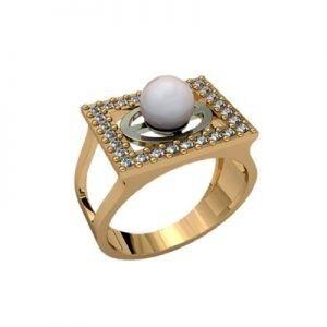 Ювелирный салон jstudio Золотое кольцо с различными вставками 10240 - фото 1