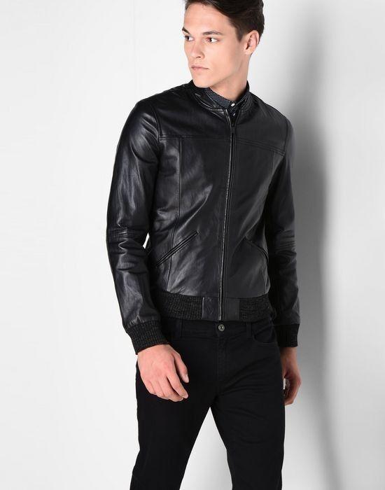 Верхняя одежда мужская Trussardi Кожаная куртка-бомбер мужская 52S09 _510070 - фото 2