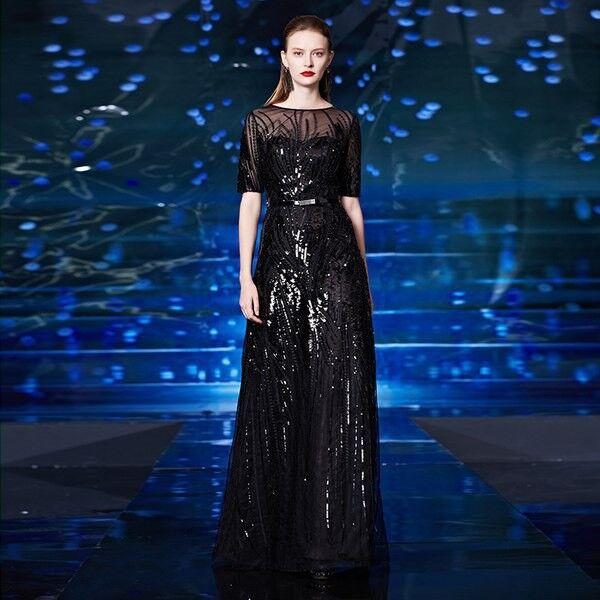 Вечернее платье Shkafpodrugi Вечернее платье с короткими рукавами и пайетками 2122 - фото 2