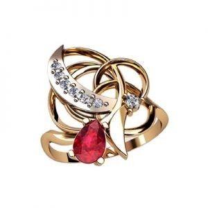 Ювелирный салон jstudio Золотое кольцо с различными фианитами 10276 - фото 1