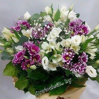 Магазин цветов Цветочник Букет из хризантем с эустомой - фото 1