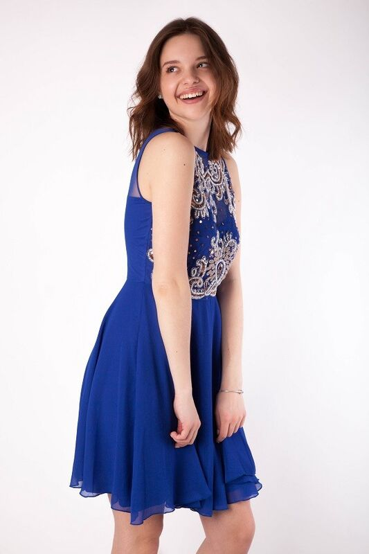 Вечернее платье Shkafpodrugi Коктейльное платье синего цвета с вышивкой 1427 - фото 4