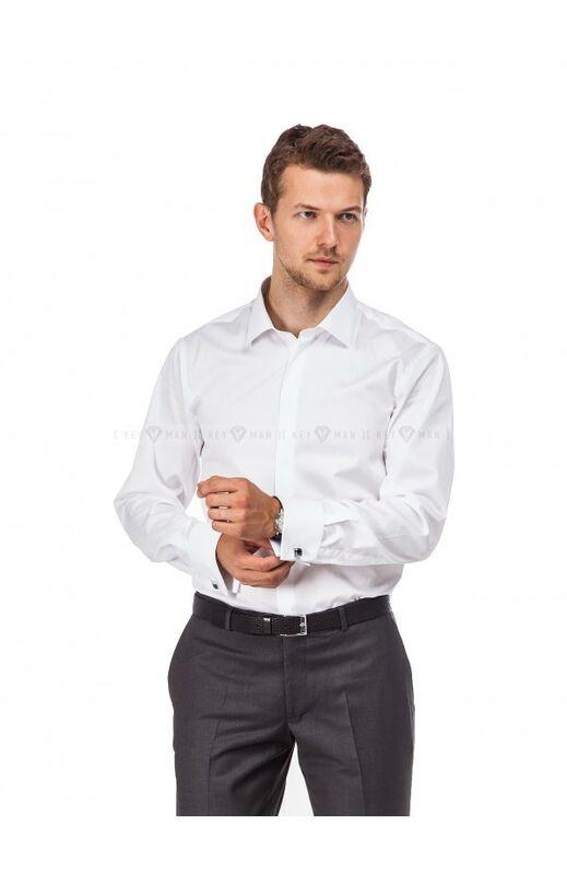 Кофта, рубашка, футболка мужская Keyman Рубашка мужская белая сатин под запонку - фото 1