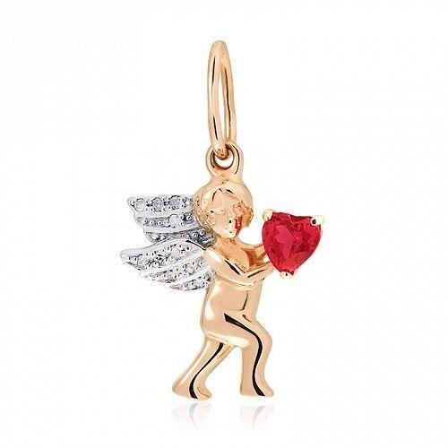 Ювелирный салон Jeweller Karat Подвеска золотая с бриллиантами и гранатом арт. 1235071 - фото 1
