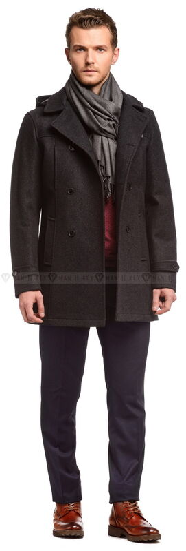 Верхняя одежда мужская Keyman Пальто мужское серое шерстяное с капюшоном утепленное синтепоном - фото 1