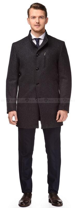 Верхняя одежда мужская Keyman Пальто шерстяное с синими вставками, утепленное мехом - фото 1