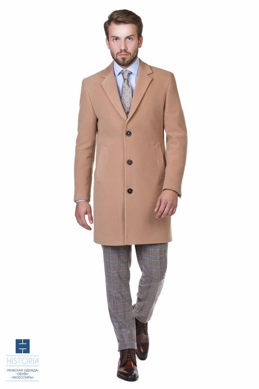 Верхняя одежда мужская HISTORIA Пальто утепленное бежевое (кэмел) - фото 1