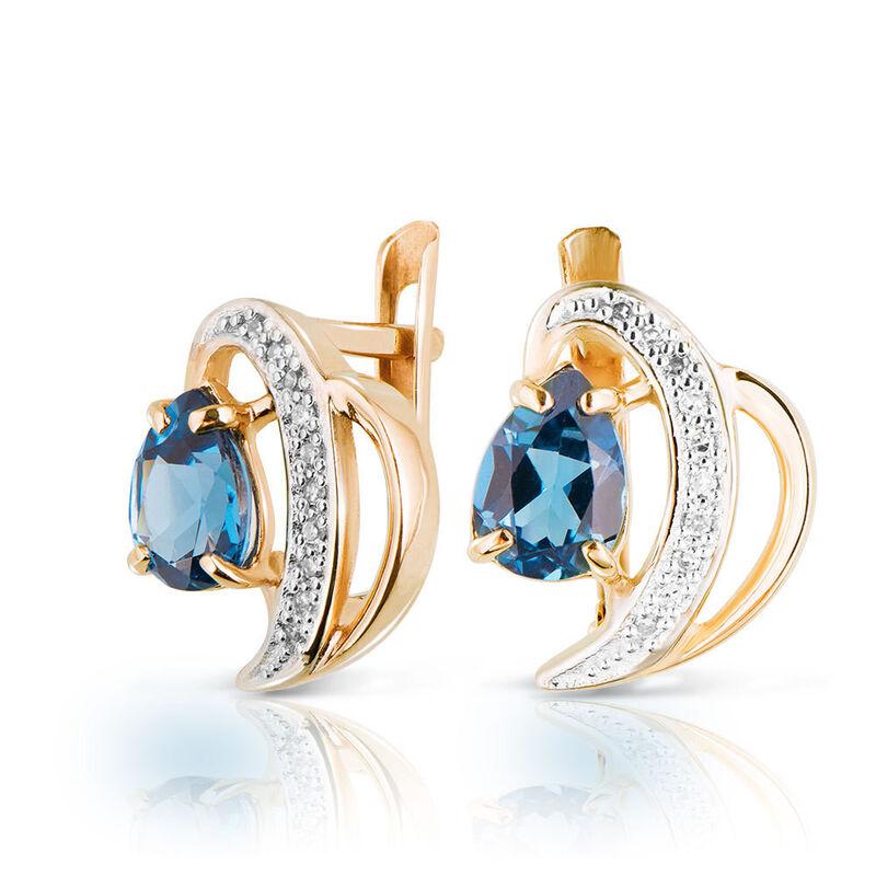 Ювелирный салон Jeweller Karat Серьги золотые с бриллиантами и топазом арт. 1224100/2 - фото 1