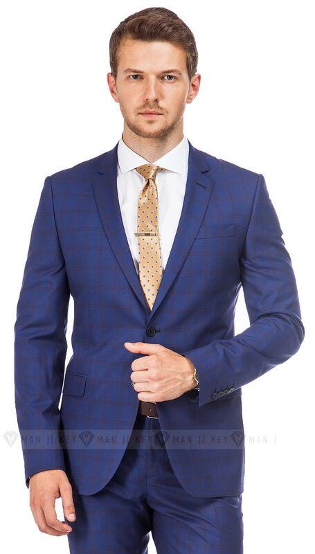 Костюм мужской Keyman Костюм мужской светло-синий в коричневую клетку (Long) - фото 1