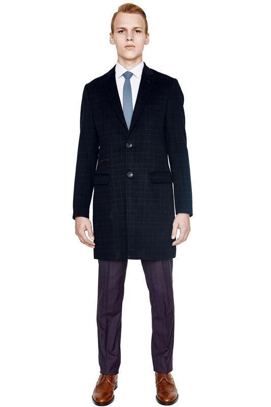 Верхняя одежда мужская HISTORIA Пальто мужское темно-синее в клетку H01 - фото 1
