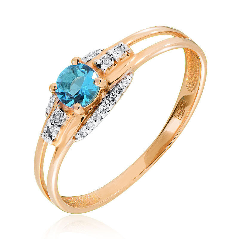 Ювелирный салон Jeweller Karat Кольцо золотое с бриллиантами и топазом арт. 3215708/91 - фото 1