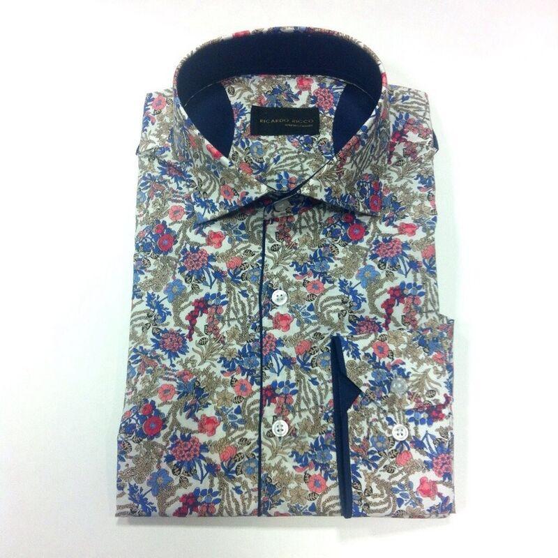 Кофта, рубашка, футболка мужская Ricardo Ricco Рубашка мужская, цвет: принт (Slim Fit) RR5 - фото 1
