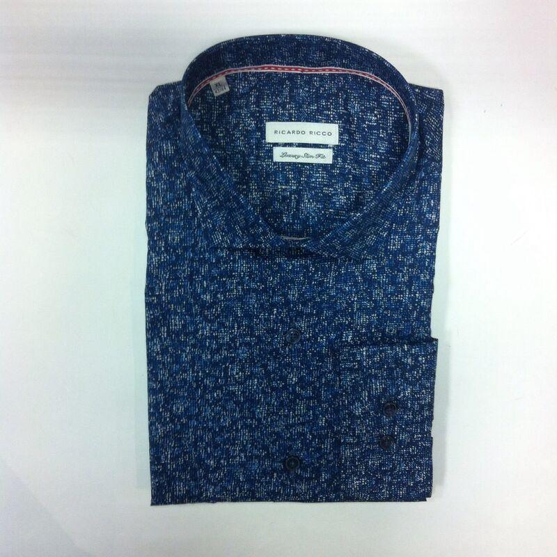 Кофта, рубашка, футболка мужская Ricardo Ricco Рубашка мужская, цвет: принт (Slim Fit) R25 - фото 1
