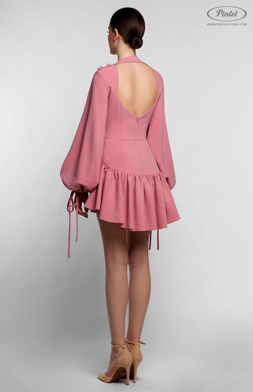 Брюки женские Pintel™ Нежно розовый мини-комбинезон-шорты с воланами по низу NAZENGA - фото 5