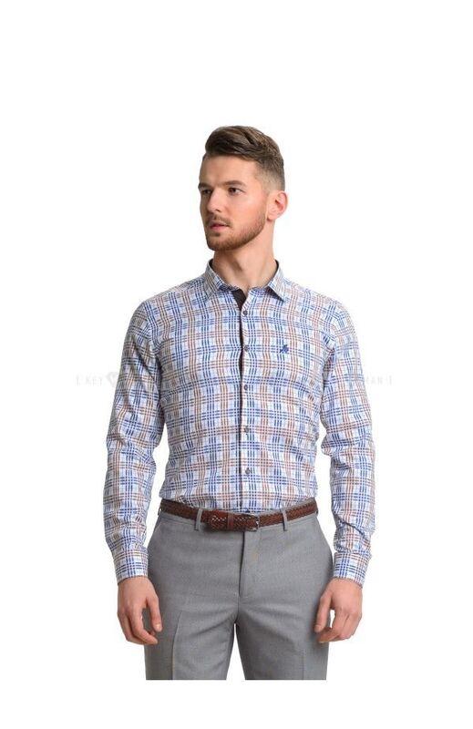 Кофта, рубашка, футболка мужская Keyman Рубашка мужская в сине-коричневую клетку - фото 1