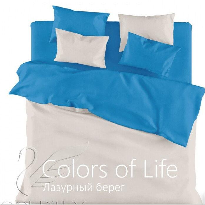 Подарок Голдтекс Двуспальное однотонное белье «Color of Life» Лазурный берег - фото 1