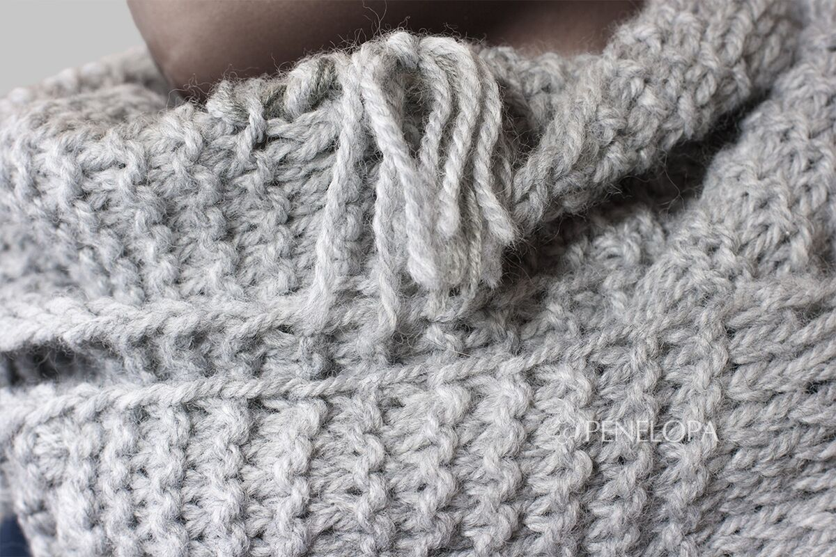 Шарф и платок PENELOPA Шарф-снуд «Серый в деталях» M94 - фото 4