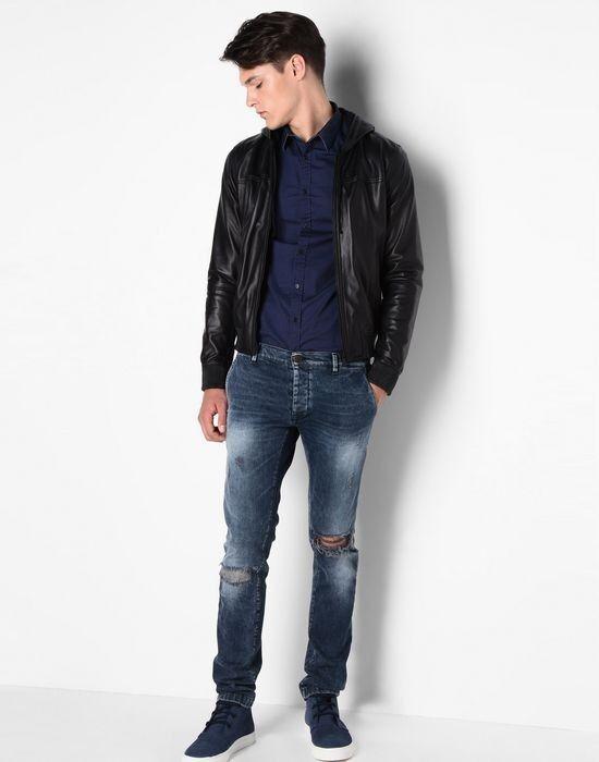 Верхняя одежда мужская Trussardi Кожаная куртка-бомбер мужская 52S02 _510070 - фото 5