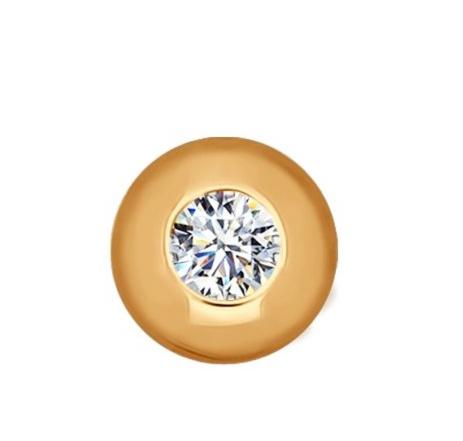 Ювелирный салон Sokolov Подвеска-шарм из золота с фианитом 034772 - фото 1