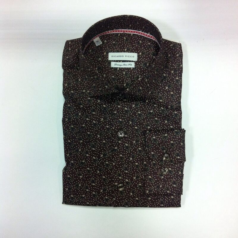 Кофта, рубашка, футболка мужская Ricardo Ricco Рубашка мужская, цвет: принт (Slim Fit) RR18 - фото 1