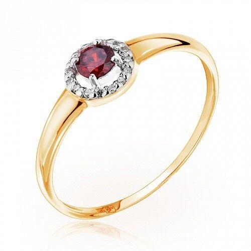 Ювелирный салон Jeweller Karat Кольцо золотое с бриллиантами и гранатом арт. 1215711 - фото 1