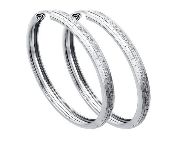 Ювелирный салон Sokolov Серьги конго из серебра с алмазной гранью 140066 - фото 1