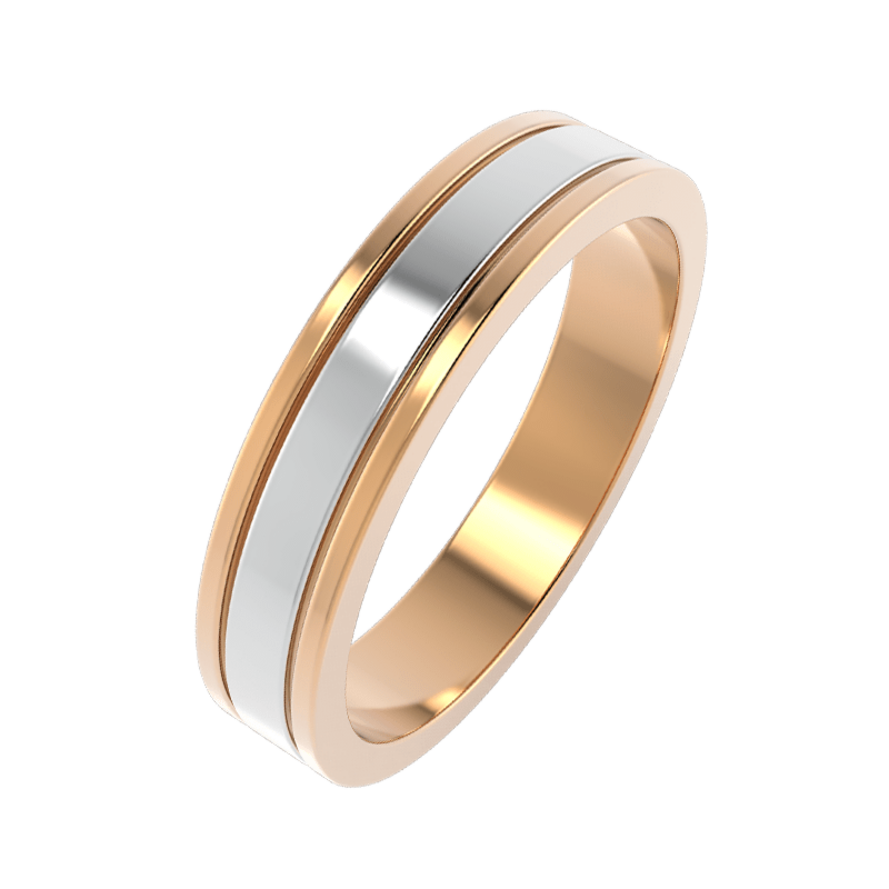 Ювелирный салон ZORKA Кольцо обручальное из комбинированного золота   44073/B - фото 1