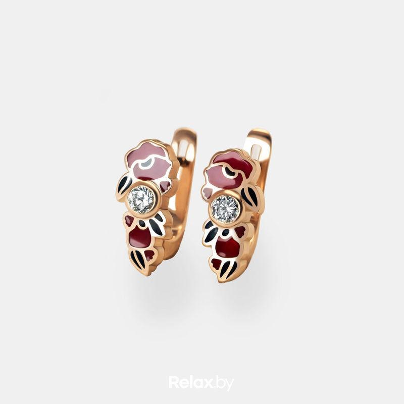 Ювелирный салон Белорусские Бриллианты Серьги из золота со вставкой бриллиант синтетический 31010048 - фото 1