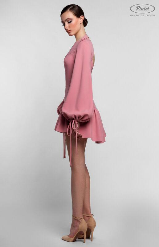 Брюки женские Pintel™ Нежно розовый мини-комбинезон-шорты с воланами по низу NAZENGA - фото 4