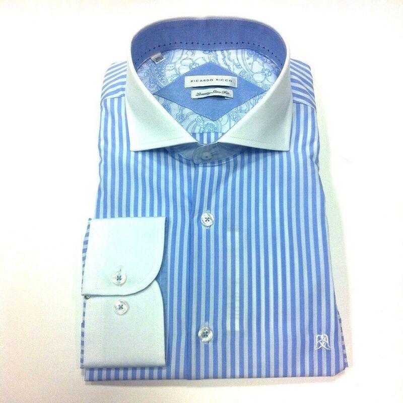 Кофта, рубашка, футболка мужская Ricardo Ricco Рубашка мужская, цвет: голубая полоска (Slim Fit) RR12 - фото 1