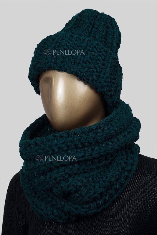 Шарф и платок PENELOPA Вязаный снуд темно-зеленого цвета с изумрудным оттенком M59 - фото 4