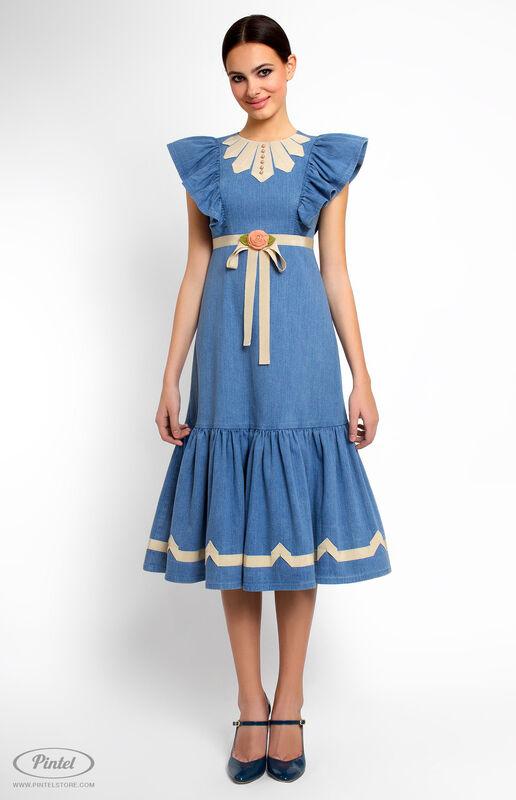 Платье женское Pintel™ Джинсовое платье приталенного силуэта с воланами Miranttu - фото 1