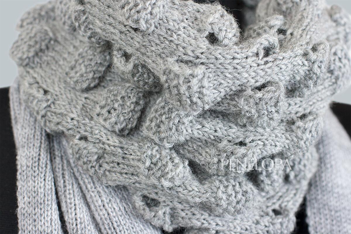 Шарф и платок PENELOPA Длинный серый шарф M16 - фото 5