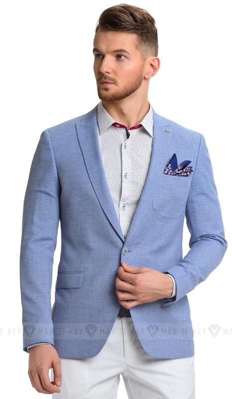 Пиджак, жакет, жилетка мужские Keyman Пиджак мужской голубой фактурный с заостренными лацканами - фото 1