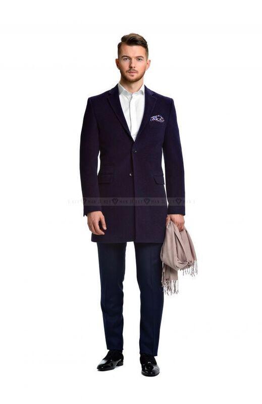 Верхняя одежда мужская Keyman Пальто мужское сине-фиолетовое шерстяное приталенное демисезонное - фото 2