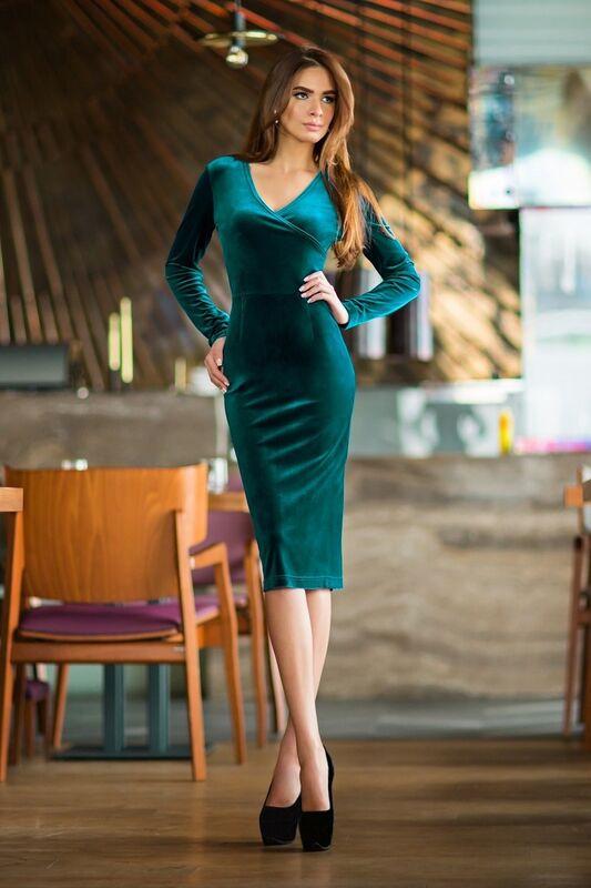 Платье женское SL.IRA Велюровое платье цвета морской волны - фото 1