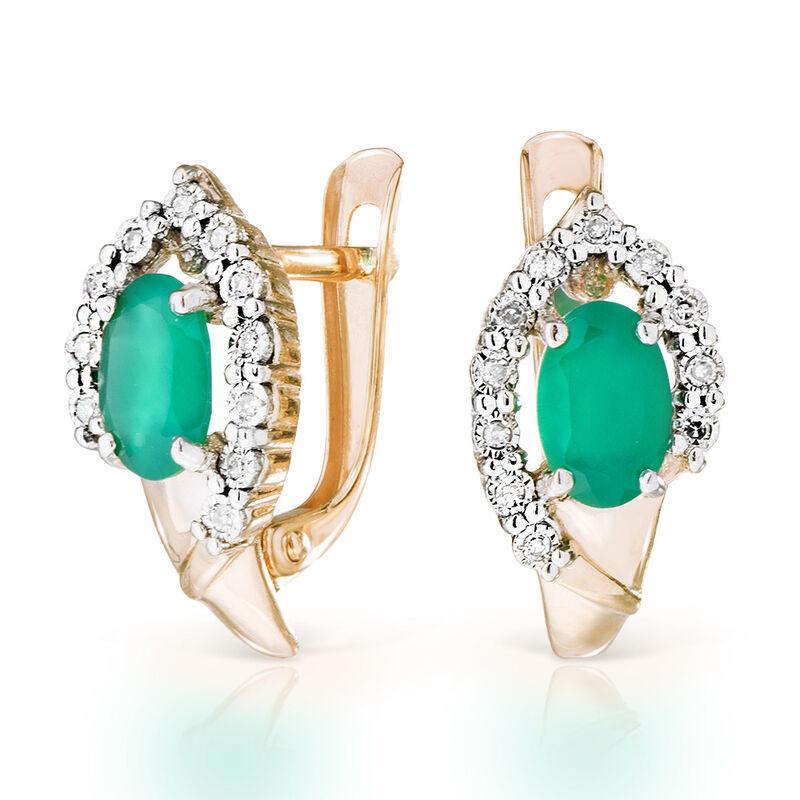 Ювелирный салон Jeweller Karat Серьги золотые с бриллиантами и хризопразом арт. 3226203/9 - фото 1