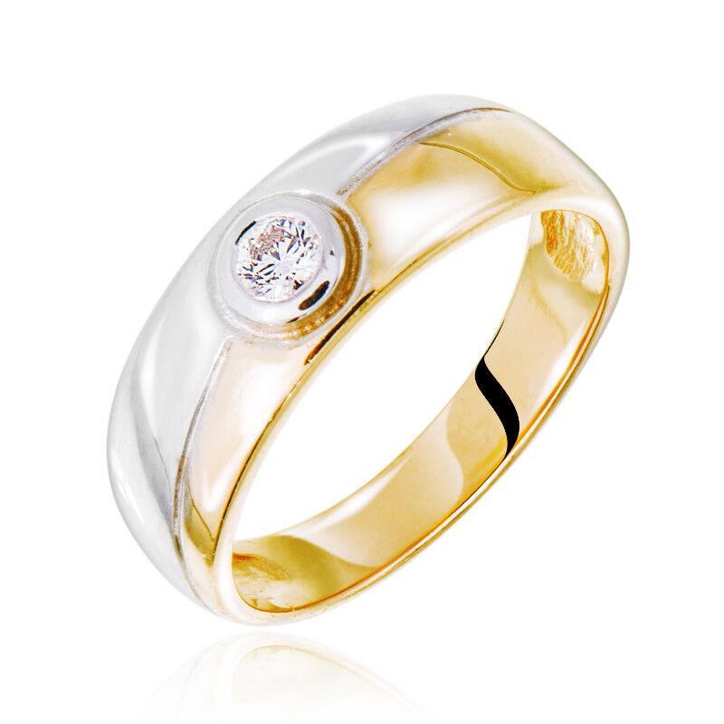 Ювелирный салон Jeweller Karat Кольцо обручальное из комбинированного золота с бриллиантом арт. 1212841 - фото 1