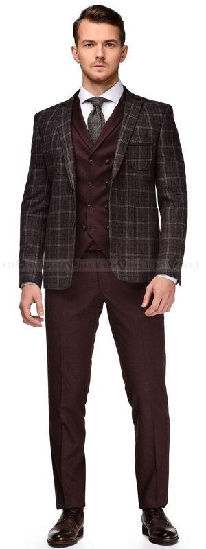 Костюм мужской Keyman Костюм-тройка серо-бордовый пиджак в клетку (грубая шерсть) - фото 1