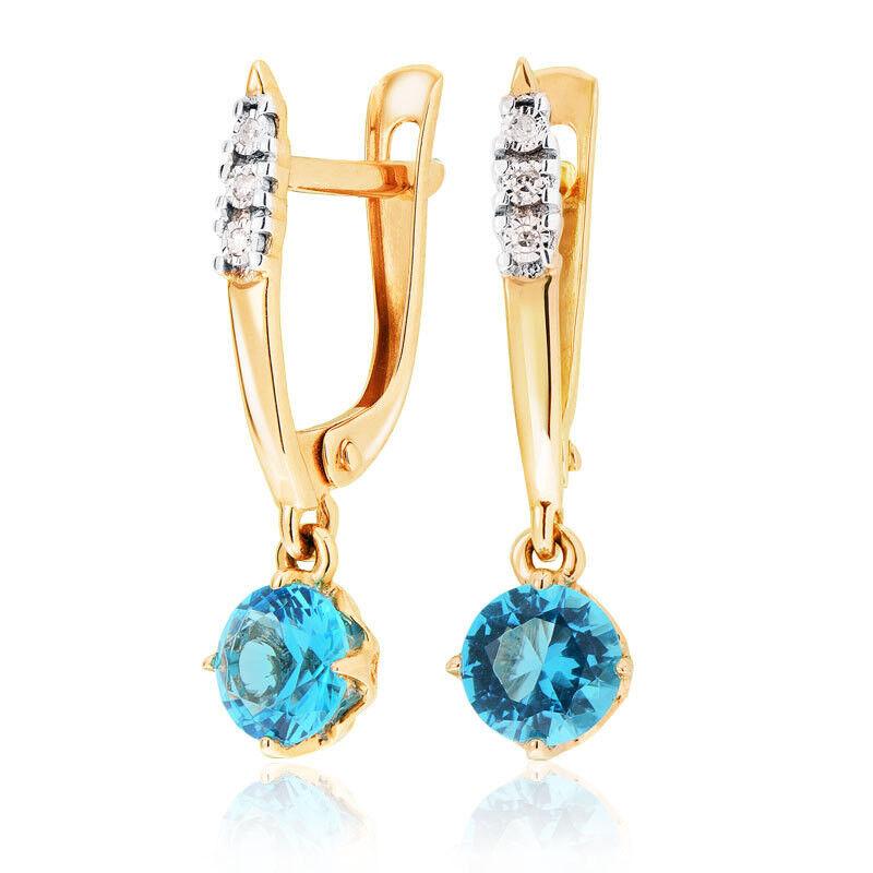 Ювелирный салон Jeweller Karat Серьги золотые с бриллиантами и топазом арт. 3226462/9 - фото 1