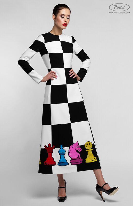 Платье женское Pintel™ Комбинированное чёрно-белое оп-арт миди-платье Finna - фото 1