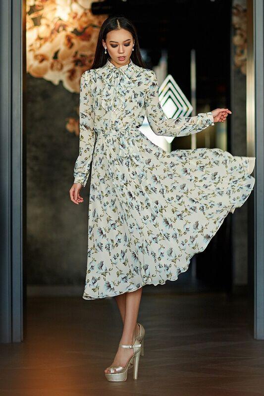 Платье женское SL.IRA Воздушное платье с бантом в цветочный принт - фото 1