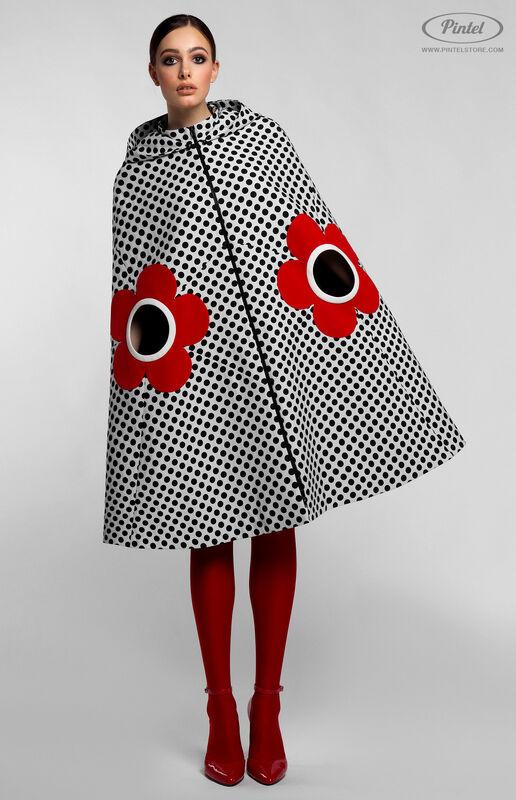 Верхняя одежда женская Pintel™ Романтичный кейп А-силуэта в горох LIÉVINTA - фото 1