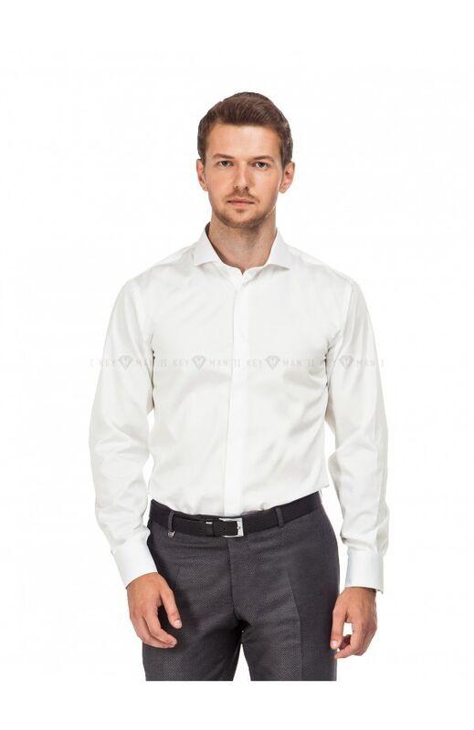 Кофта, рубашка, футболка мужская Keyman Рубашка мужская айвори сатин итальянский ворот - фото 1