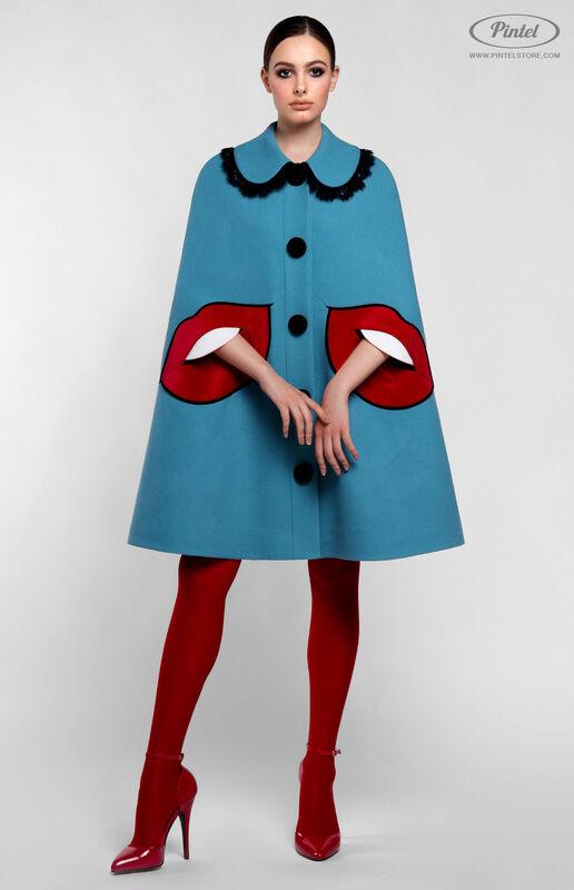 Верхняя одежда женская Pintel™ Кейп из голубой натуральной шерсти Mellaáni - фото 1
